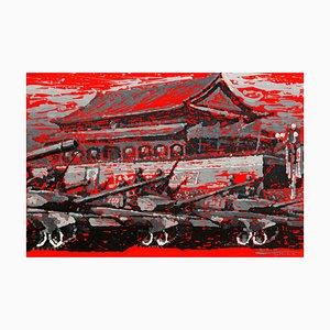 Zhao De-Wei, Urban Landscape Series, Rouge, 2013, Acrylique sur Toile