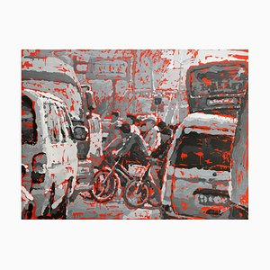 Zhao De-Wei, Landscape Series, Crossing the Road, 2008, Öl auf Leinwand