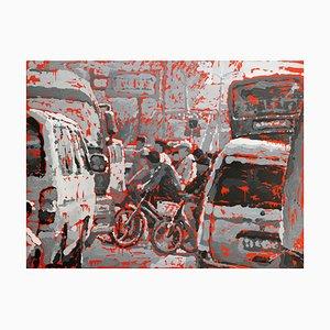 Zhao De-Wei, Landscape Series, Crossing the Road, 2008, Oil on Canvas