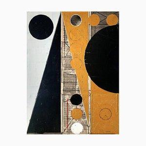Lukasz Fruczek, Old Gold 1, 2021, acrilico e collage su tela