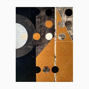 Lukasz Fruczek, Old Gold 2, 2021, acrilico e collage su tela