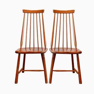 Chaises Vintage en Bois Massif, Set de 2