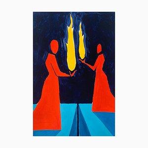 Waleria Matelska, Tamed Fire, 2021, Acryl auf Papier