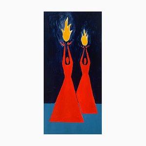 Waleria Matelska, Tamed Fire 2, 2021, acrílico sobre papel