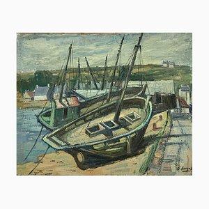 Ernest Vokei, Petit port, 1934, Huile sur Toile
