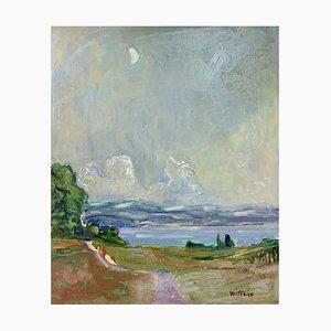 Alois Wittlin, Vue de loin au clair de lune, 1943, Huile sur Toile