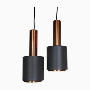 Lampade a sospensione in rame e alluminio verniciato nero, anni '60, set di 2