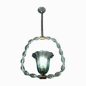 Aquamarine Murano Glass Chandelier by Ercole Barovier, 1940s