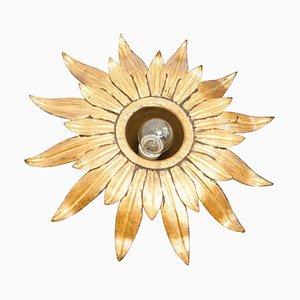 Mid-Century Modern Sunburst Brass Pendant Lamp, 1960s