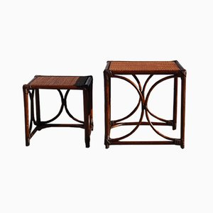 French Vintage Bamboo Nesting Tables, Set of 2