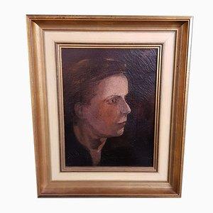 Portrait Impressionniste d'un Garçon avec un Chapeau, Huile sur Toile, Fin du 19ème Siècle
