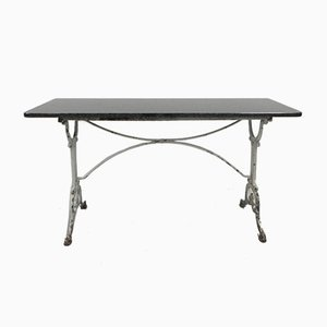 Large Parisian Bistro or Garden Table with Granite Top