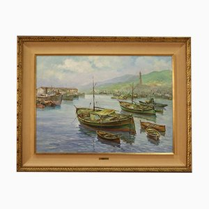 Italian Painting, View of the Port of Genoa, Oil on Canvas