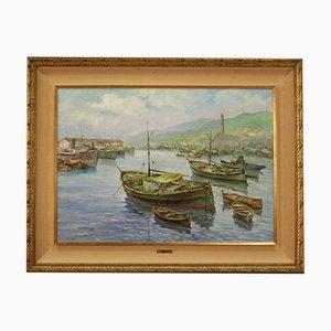 Peinture, Italie, Vue du Port de Gênes, Huile sur Toile