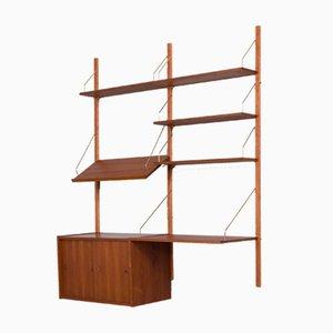 Mueble de pared danés de teca con escritorio de Poul Cadovius, años 60
