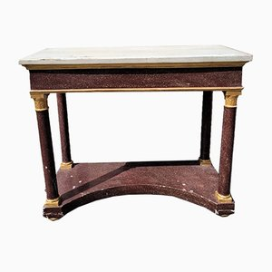 Empire Style Imitation Porphyry Console in Wood, 19th Century
