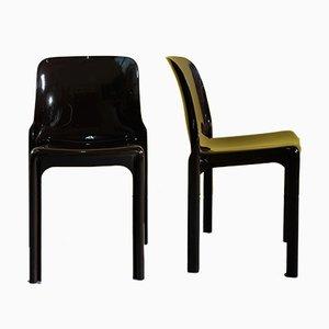 Braune Selene Stühle von Vico Magistretti für Artemide, 3er Set
