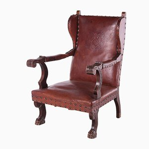 Vintage Leather Castle Chair with Shell Relief, 1950s