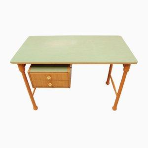 Schreibtisch mit grüner Resopalplatte, 1960er