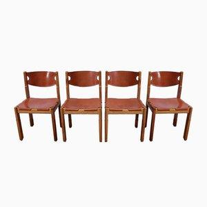 Chaises en Orme et Cuir et Cuir de Maison Regain, 1960s, Set de 4