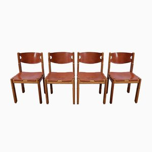 Elm and Leather Chairs and Leather from Maison Regain, 1960s, Set of 4