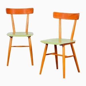 Vintage Holzstühle von Ton, 1960er, 2er Set