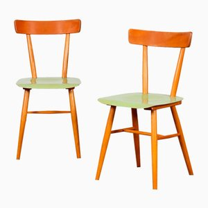 Vintage Wooden Chairs from Ton, 1960s, Set of 2