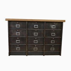Mueble de haya y metal pulido con 12 compartimentos de Strafor, años 50