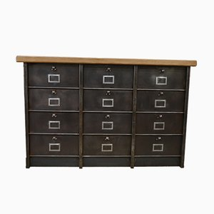 Polished Metal & Beech Cabinet with 12 Compartments from Strafor, 1950s
