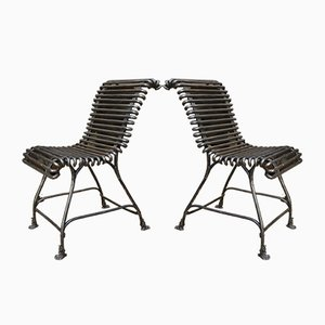 Arras Iron Garden Chairs with Eagle Feet, 1920s, Set of 2