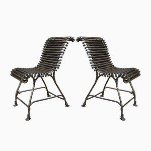 Sillas de jardín Arras de hierro con patas de águila, años 20. Juego de 2
