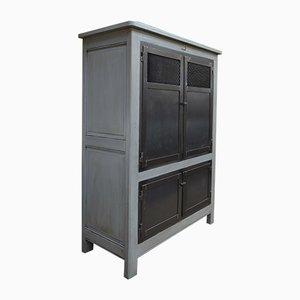 Solid Oak Cabinet with 4 Metal Doors, 1930s