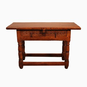 17th Century Spanish Table in Walnut with Two Drawers