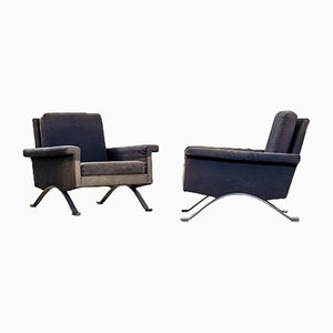Mod. 875 Armchairs in Metal & Fabric by Ico Parisi for Cassina, 1960s, Set of 2
