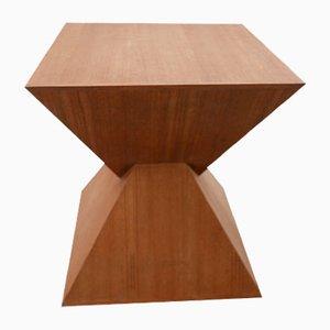 Mesa auxiliar Mid-Century geométrica de madera