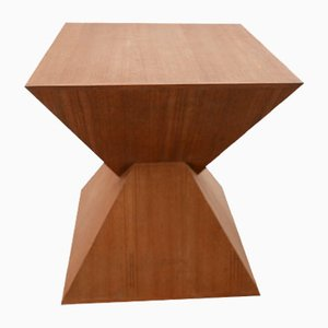 Mid-Century Geometric Wooden Side Table