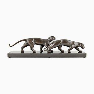 Luc Alliot, Art Deco Skulptur, Zwei Panther, 1925, Bronze