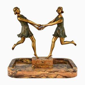 Centre de Table Fugère, Art Déco, Deux Danseuses, 1925, Bronze et Marbre