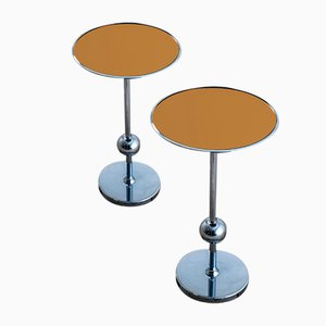 Chromed Metal Model T1 Tables with Round Colored Glass Tops by Osvaldo Borsani for Tecno, 1970s, Set of 2