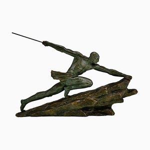 Pierre Le Faguays, Art Deco Skulptur, Athlet mit Speer, Bronze
