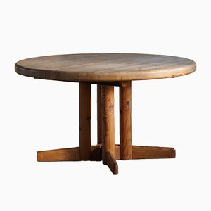 Mid-Century Brutalist Round Dining Table in Pine by Rainer Daumiller, 1970s