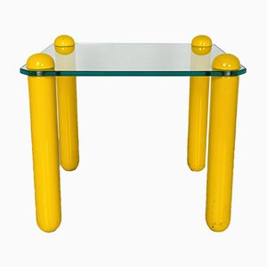Small Mid-Century Italian Modern Glass Coffee Table with Wooden Legs, 1980s