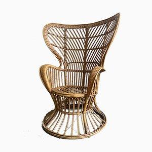 Mid-Century Modern Wicker Wingback Chair by Lio Carminati, 1950s