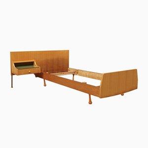 Estructura de cama individual con mesita de noche, años 60