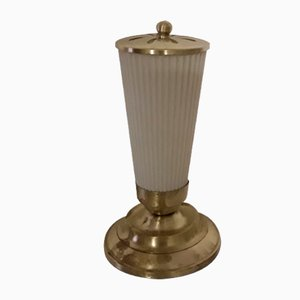 Kleine Vintage Tischlampe mit Messingrahmen, 1930er
