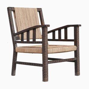 Französischer Mid-Century Armlehnstuhl aus Seil von Francis Jourdain