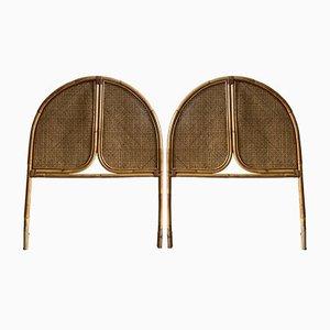 Italian Mid-Century Modern Bamboo and Straw Single Headboards, 1970s, Set of 2