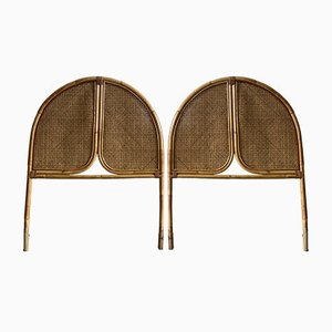 Italienische Mid-Century Modern Kopfteile aus Bambus & Strohgeflecht, 1970er, 2er Set