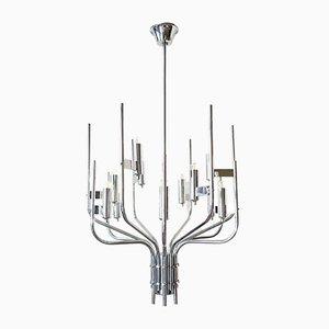 Lámpara de araña italiana de cromo de Gaetano Sciolari, años 70