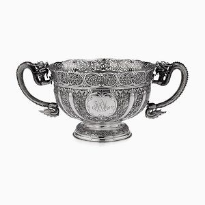 19th Century Chinese Export Solid Silver Dragon Bowl by Luen Wo, 1890